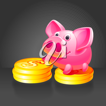 Pink piggy bank with gold coins. Black background