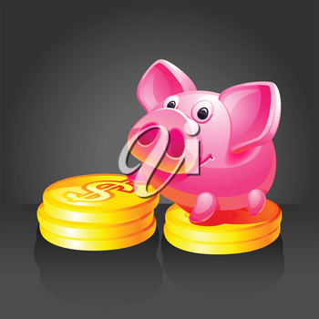 Pink piggy bank with gold coins. 10 EPS vector.