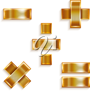 Font folded from a metallic gold perforated ribbon - Mathematical signs, vector illustration 10eps.