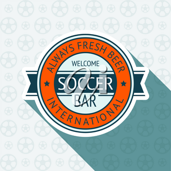 Soccer pub badge, vector illustration 10 EPS, on a blue background