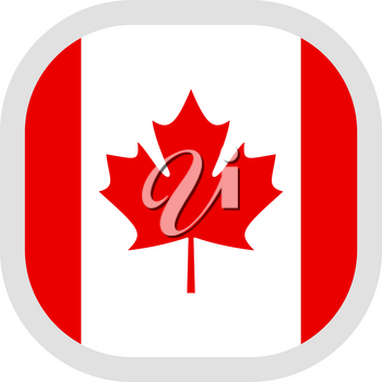 Flag of Canada. Rounded square icon on white background, vector illustration.