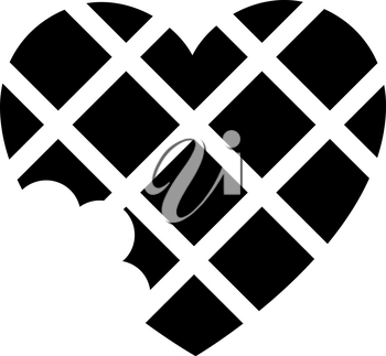 Love icon or Valentine's day sign designed for celebration. Black vector symbol isolated on white background, flat style.