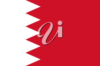 Flag of Bahrain. Rectangular shape icon on white background, vector illustration.