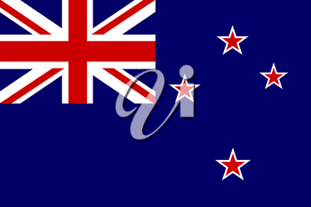 Flag of New Zealand. Rectangular shape icon on white background, vector illustration.