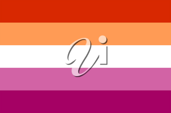 New Lesbian pride flag created in 2018, LGBT symbol Isolated on white background