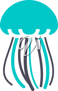 Jellyfish, gray turquoise icon on a white background