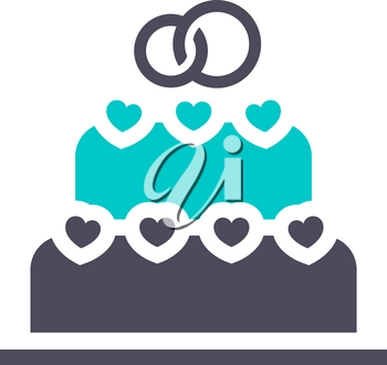 wedding cake icon, gray turquoise icon on a white background