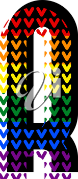 Creative bright font, alphabet in style of pop art, vector letter R high detail with LGBT pattern.