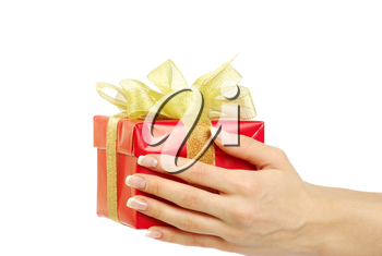 gift box in hand on white