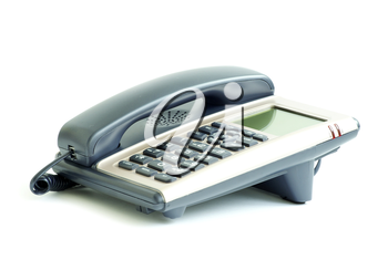 blue office telephone isolated on a white background