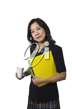 Asian women carrying folders in business causal clothing on white background
