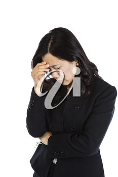 Mature Asian Woman displaying major stress on white background