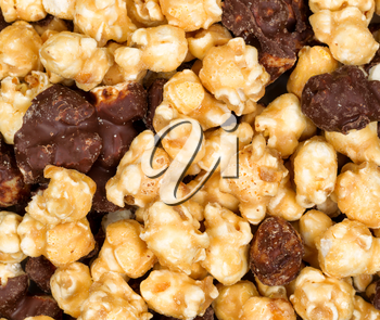 Close up of gourmet popcorn in filled frame layout.
