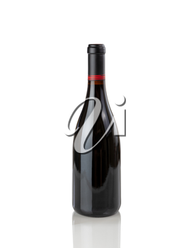 Red wine bottle isolated on pure white background with reflection
