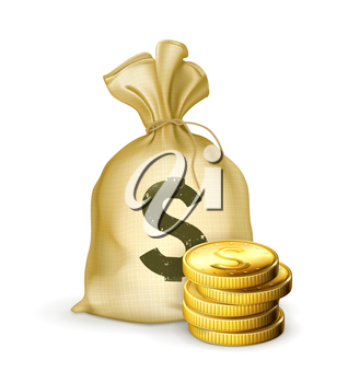 Moneybag and coins