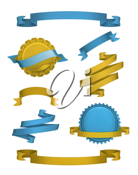 Vintage ribbons and labels, vector