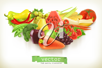 Healthy food, fruits and vegetables vector illustration
