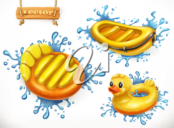 Summer. Yellow inflatable toys and water splashes. Floating air mattress, boat, ring, 3d vector icon set