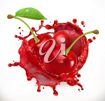 Cherry juice. Fresh fruit, 3d vector icon
