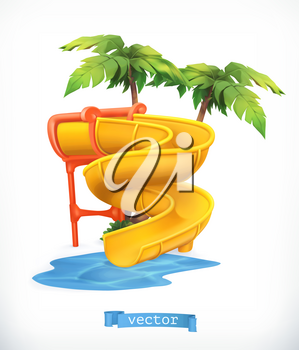 Water slide 3d vector icon