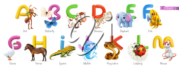 Zoo alphabet. Funny animals, 3d vector icons set. Letters A - M Part 1. Ant, butterfly, cow, dinosaur, elephant, fish, goose, horse, iguana, jellyfish, king cobra, ladybug, mouse.