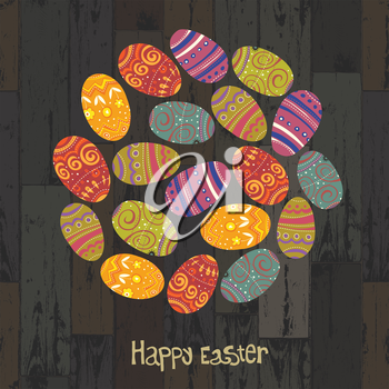 Easter eggs. Circle shaped on wooden planks background. Vector, EPS10