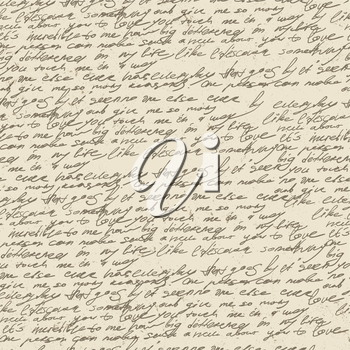 Abstract handwriting on old vintage paper. Seamless pattern, vector, EPS10.