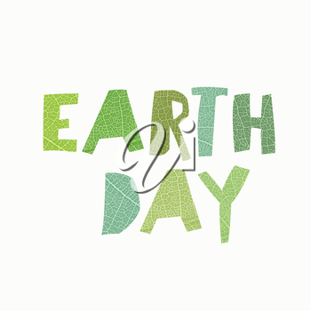 Earth Day Calebration Typography. Leaf cut letters. Abstract nature themed logotype for celebration. On white background, isolated.