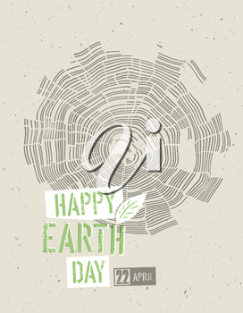 Happy Earth Day Poster. Tree rings symbolic illustration on the recycled paper texture. 22 April