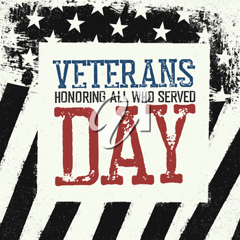 Veterans day logo on black and white american flag background.