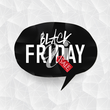 Black Friday Typography on black speech bubble, white triangle background