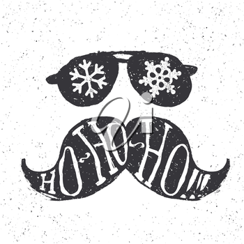 Santa vintage sunglasses and moustache. With snowflake reflection. On textured grunge white background. Ho-ho-ho! lettering. Vector illustration. Christmas fun concept.