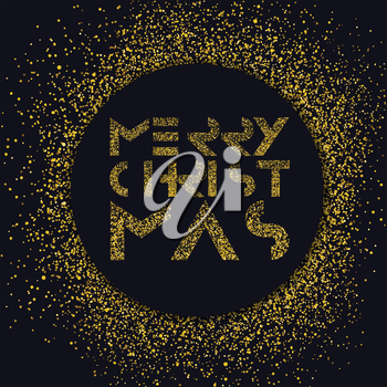 Merry Christmas gold lettering. Christmas background with gold circle. Vector illustration