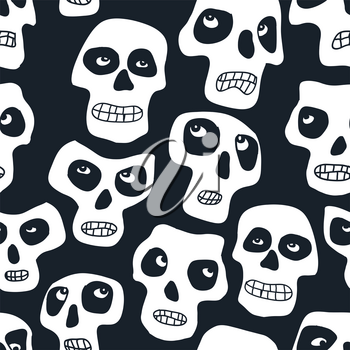 Heads masked as skull seamless pattern. Dia los muertos theme vector background.
