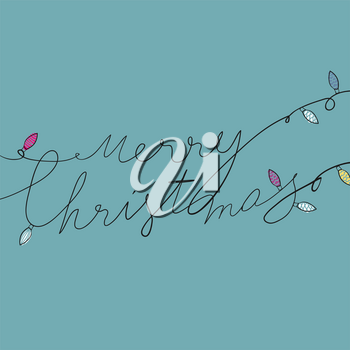 Hand drawn illustratrion of tangled christmas garlands. Merry Christmas typography.