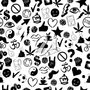 Youth life's signs. Seamless pattern. Vector hand drawn background