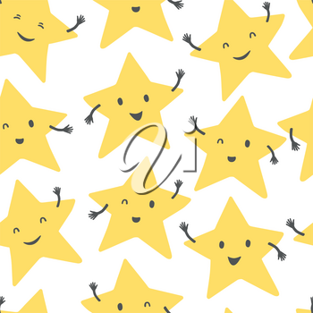 Yellow smiling stars. Cartoon style vector seamless background.