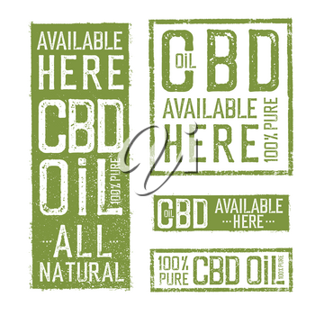 All Natural 100% Pure CBD Oil Signs. Vector collection of labels themed CBD oil.