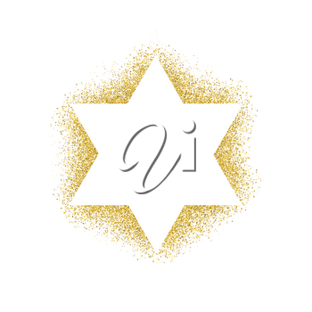 Vector illustration of golden Magen David (star of David). Composed from many golden particles.