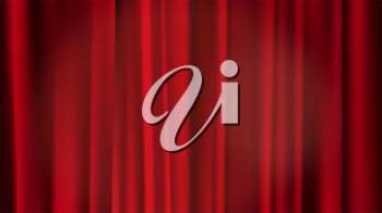 Empty scene with a red curtain and spotlights. Concert, show, performance abstract background. Red velvet curtain in theater or cinema.
