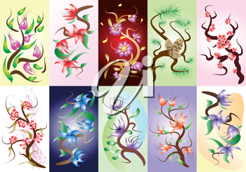 Set of 10 decorative painting floral compositions