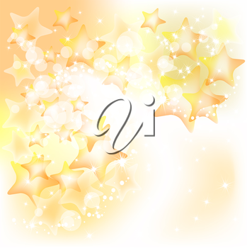 Abstract Christmas background with golden stars. Vector
