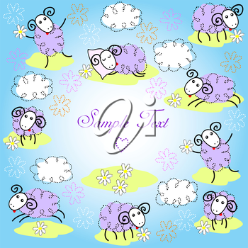 Greeting card with cute sheeps on a meadow
