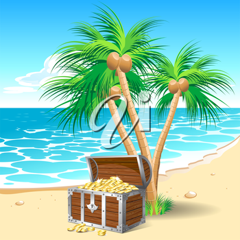 Pirate's treasure chest on a tropical beach with palm trees
