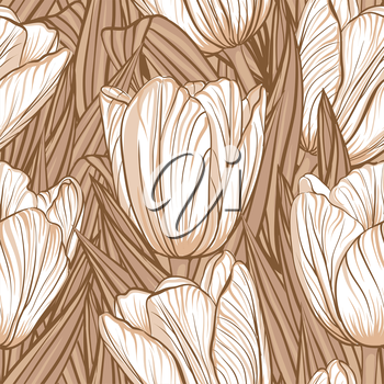 Decorative floral seamless pattern with flowers of tulips