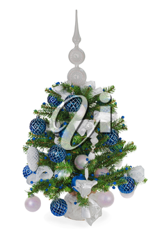Christmas fir tree decorated with Christmas balls, snowflakes, candles , beads and pine branches isolated on white background