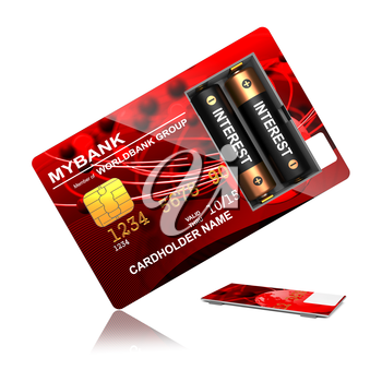 Interest Concept. Red Credit Card with Batteries that say Overdraft.