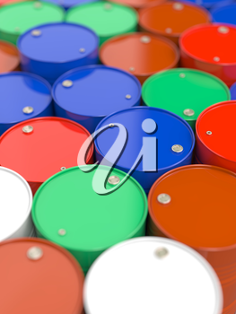 Colorfull Oil Barrels. Industrial Background with Selective Focus.