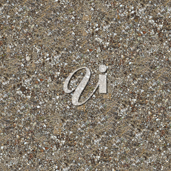 Seamless Texture of the Soil Post-apocalyptic Period with Pieces of Rusted Metal, Broken Glass, Dry Stems of Herb and Shells. Large Size.
