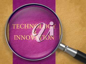 Technology and Innovation through Loupe on Old Paper with Dark Lilac Vertical Line Background. 3d Render.